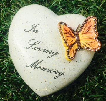 8cm IN LOVING MEMORY HEART with Butterfly Grave Stone 846409
